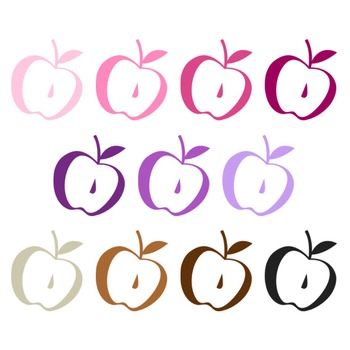 Apple Clipart - 22 digital apples / 2x2.5 inches - A00124