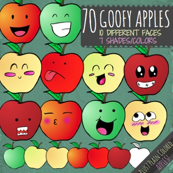 Apple Clip Art - 70 Goofy Apples Clipart Graphics with Faces