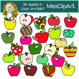 Apple Clipart (Color and B&W) {MissClipArt}