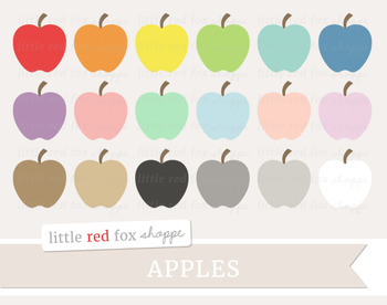Apple Clipart; Fruit, Food, Produce, Grocery
