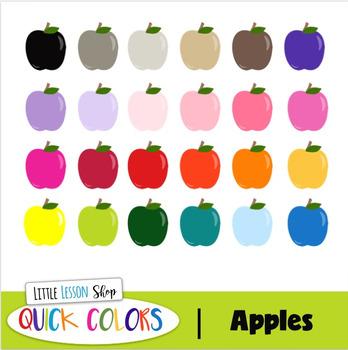 Apple Clipart - Quick Colors Set -Bonus Black Line File Included Too!
