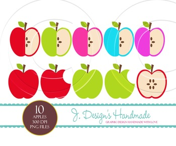 Apple Clipart Set - Apples - Green Apple- Red Apple - Teacher's Desk Apple