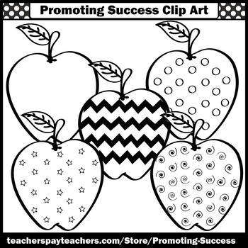 Apple Clipart for Apples Classroom Theme, Autumn Clip Art, Back to School SPS