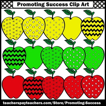 Yellow Red Green Apple Clipart SPS