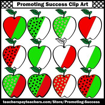 Red and Green Apple Clipart Commercial Use Images SPS