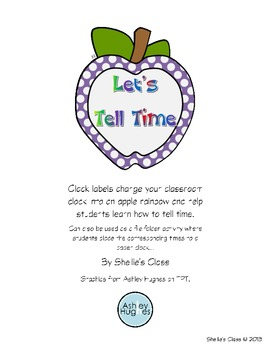 Apple Clock - Clock Labels and File Folder Game