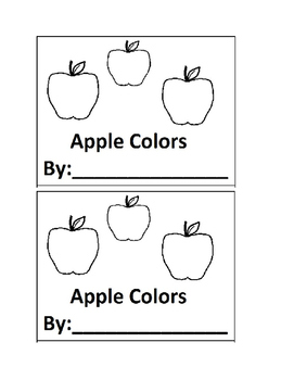 Apple Color Book Emergent Reader book for Preschool or Kin