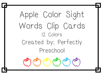 Apple Color Sight Words Clip Cards