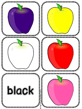Apple Color Word and Picture Matching Activity
