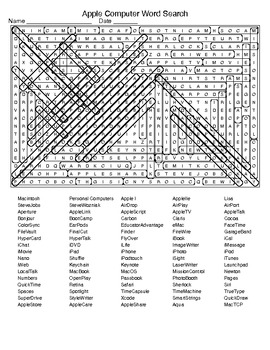 Apple Computer Word Search and KEY