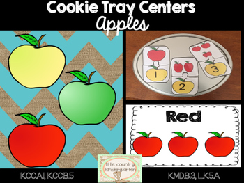 Apple Cookie Tray Activity Bundle: Color Sorting, Counting 1-10, and Puzzles