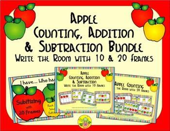 Apple Count, Add & Subtract Bundle with 10 & 20 Frames {Su