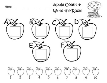 Apple Count and Write the Room