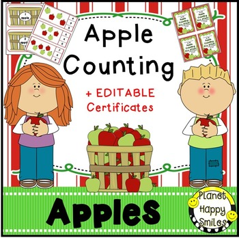 Apple Counting 1-20 + EDITABLE certificates