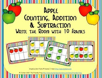 Apple Counting, Addition & Subtraction with Ten Frames {Su