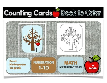 Apple Counting Cards with Book to Color