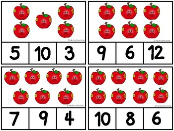 Apple Counting Clip Cards