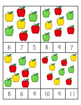 Apple Counting Clips 1-10