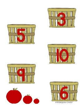 Apple Counting File Folder Game