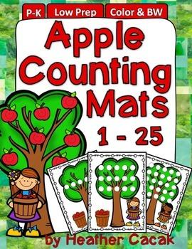 Apple Counting Hands On Math Mats 1-25 Low Prep (Pre-K to Kindergarten)