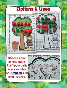 Apple Counting Hands On Math Mats 1-25 Low Prep (Pre-K to Kindergarten)