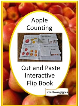 Apple Counting Interactive Cut and Paste Flip book Special Ed, P-K, K, Autism