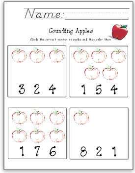 Apple Counting Math Worksheet 1-9