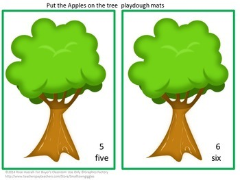 Play Dough Mats Apples Count to 10 Fine Motor P-k, K Special Education Autism