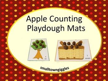 Playdough Mats,Apple Counting Mats Kindergarten Counting t