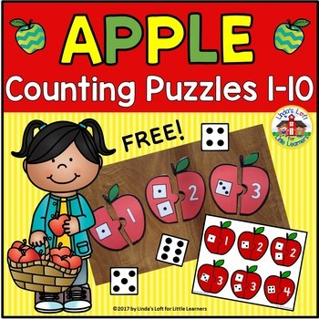 Free Apple Counting Puzzles 1-10