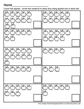 Apple Counting Worksheet 3