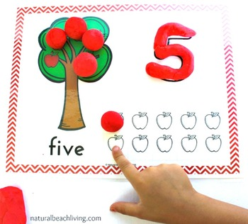Apple Counting and Play Dough Mats