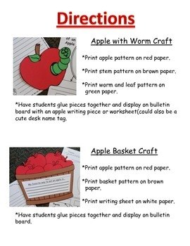 Apple Craft Templates and Worksheet Set
