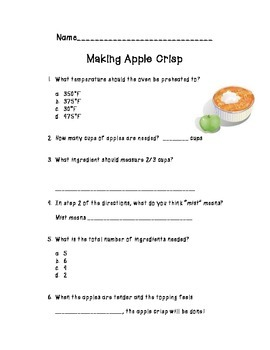 Apple Crisp - Cooking and Comprehension