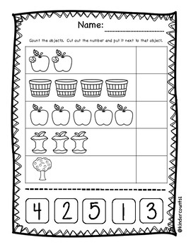 Apple Cut and Paste Numbers 1-5
