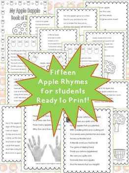 Apple Poetry Unit:  Apple Dapple Rhymes Printables & PowerPoint for Reading K-2
