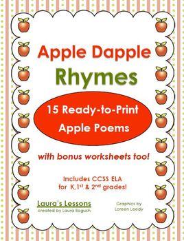 Apple Poetry Unit:  Apple Dapple Rhymes Printables for Rea