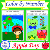 Apple Day: Color by Numbers Worksheets