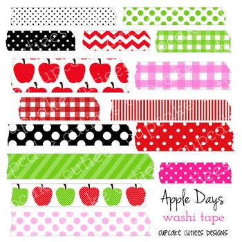 Apple Days Washi Tape Digital Clip Art Digital Graphics -Commercial Use