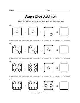Apple Dice One Digit Addition Adding 3 Numbers Worksheets