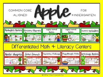 Apple Differentiated Math and Literacy Centers BUNDLE