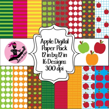 Apple Digital Paper- 16 Designs- 12 by 12- 300 dpi