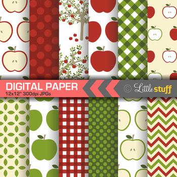 Apple Digital Paper, Apple Harvest Digital Scrapbook Paper