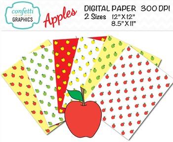 Apple Digital Paper Teacher School Background Red Yellow Green 12 x 12, 8 x 11.5