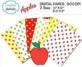 Apple Digital Paper Teacher School Background Red Yellow Green 12 x 12, 8 x 11.5