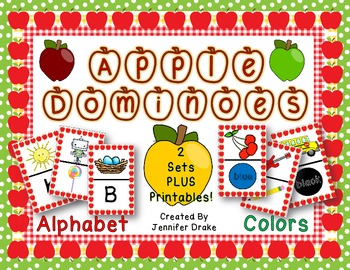 Apple Dominoes ~2 Sets; Alphabet & Colors~  Color Playing