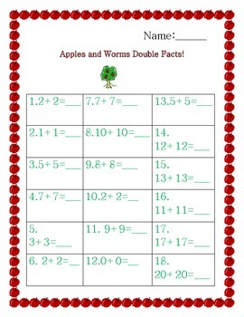 Apple Double Facts Addition