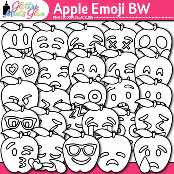 Apple Emoji Clip Art | Back to School Emoticons and Smiley Faces | B&W