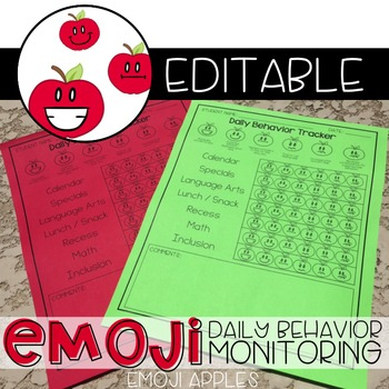 Apple Emoji Daily Behavior Monitoring Form ( 6 editable versions )