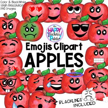 HTP Clip Art Apple Emojis Watercolor {The Happy Teacher's Palette}